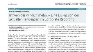 Ist weniger wirklich mehr? – Eine Diskussion der aktuellen Tendenzen im Corporate Reporting
