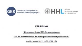 """""""Neuerungen in der IFRS-Rechnungslegung und die Kommunikation der korrespondierenden Ergebniseffekte"""" am 28. Januar 2019, 10.30-12.00 Uhr"""
