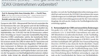 Der neue Entwurf zur Corporate Sustainability Reporting Directive (CSRD) - Wie gut sind die DAX-, MDAX-, und SDAX-Unternehmen vorbereitet?